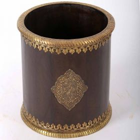 Brass Fitted Wooden Planter