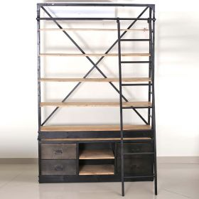 Industrial Style Wood and Iron Shelf With Ladder and Drawers