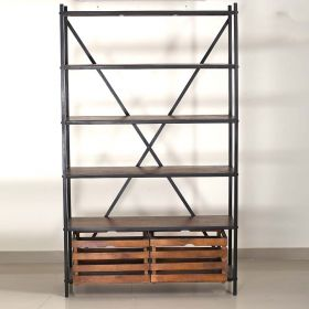 Industrial Style Wood and Iron Shelf With Baskets