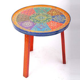 Hand Painted Multicolor Round Stool