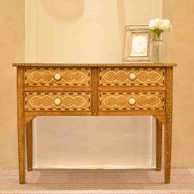 Handmade Wood and Bone Console Table