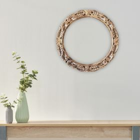 Rustic Grey Mango Wood Round Frame