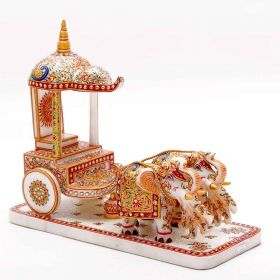 18 Carat Gold Plated Marble Rath Showpiece