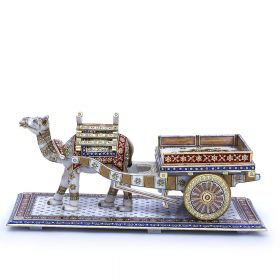 Gold Finished Marble Camel Cart Decorative Showpiece
