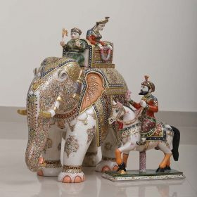 Set of Elelphant and Horse Marble Showpiece with 18 Carat Gold Plating