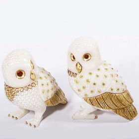 Set of 2 Gold Plated Marble Owl Showpiec