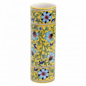 Yellow Cylinder Shaped Blue Pottery Vase