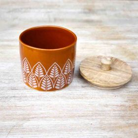 Springtime Orange Ceramic Canister