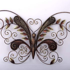 DECORATIVE FLORAL DESIGNED IRON BUTTERFLY WALL HANGING DECOR