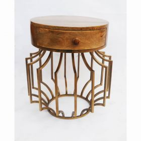 Ananya Round Wooden Top Side Table