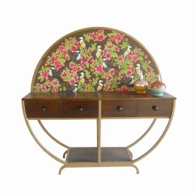 Hibiscus Round Frame Console Table