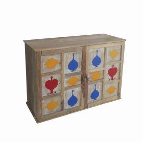 Sheesh Mahal Motifs Wooden Cabinet
