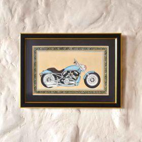 Blue Vintage Motorbike Painting