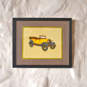 Yellow Open Vintage Car Painting