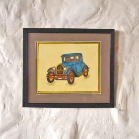 Blue Vintage Car Painting