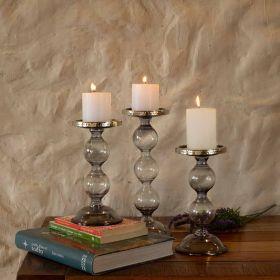 Grey Glass Pillar Candle Holder Small