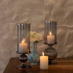 Smokey Glass Pillar Candle Holder Big