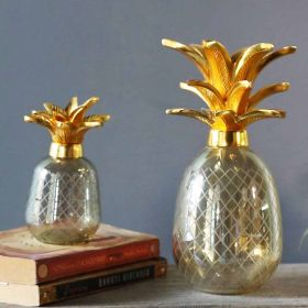 Yellow Pineapple Glass Showpiece