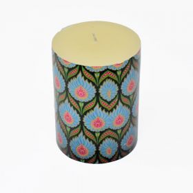 Blue Ikat Pattern Pillar Candle