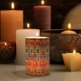 Red Ikat Pattern Pillar Candle