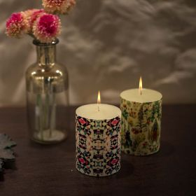 Multicolor Aztec Print Pillar Candle