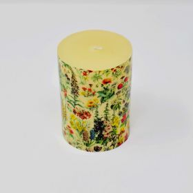 Botanical Print Pillar Candle