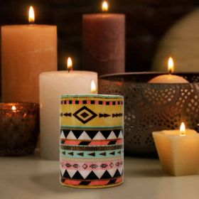 Aztec Pattern Pillar Candle