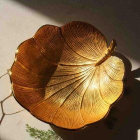 Golden Lotus Leaf Aluminium Decorative Bowl