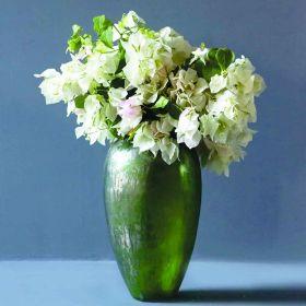 Naomi Antique Green Glass Floor Vase