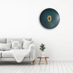 Golden Floral Ornament Green Disc Metal Wall Art