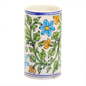Petunia- White Cylindrical Blue Pottery Vase