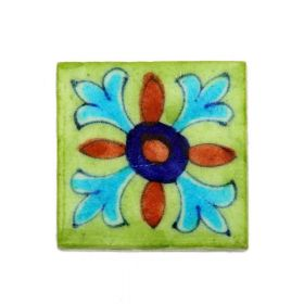 Zinnia- Green Blue Pottery Tile