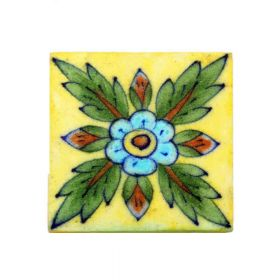 Zinnia- Leaf Motif Blue Pottery Tile