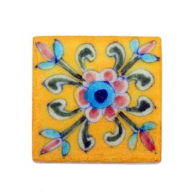 Zinnia- Yellow Blue Pottery Tile