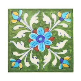 Zinnia- Green Traditional Blue Pottery Tile