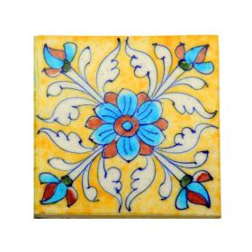 Zinnia- Yellow Traditional Blue Pottery Tile