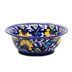 Daisy- Indigo Floral Blue Pottery Bowl