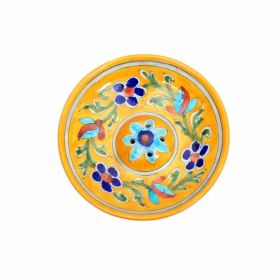Peony- Yellow Floral Blue Pottery Incense Stick Holder