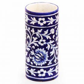 Petunia- Indigo Cylindrical Blue Pottery Vase