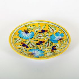 Lavender- Yellow Blue Pottery Plate