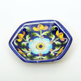 Lavender- Hexagonal Blue Pottery Plate