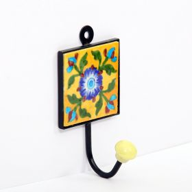 Daffodil- Yellow Blue Pottery Tile Hook
