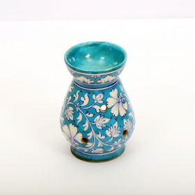 Peony- Floral Blue Pottery Tea Light Holder