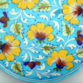 Lavender- Floral Blue Pottery Plate