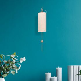 White Fabric Shade Golden Wall Lamp