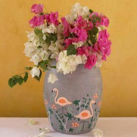 Nishaat Flamingos Terracotta Vase