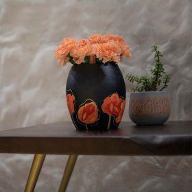 Black floral Terracotta Vase