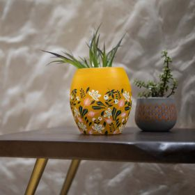 Yellow Floral Terracotta Vase