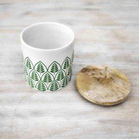 Springtime White Ceramic Canister