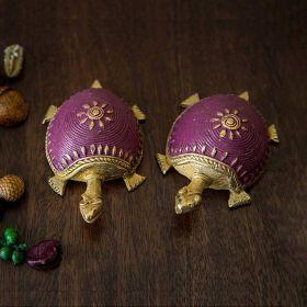 Dhokra Tortoise Table Top Set- Purple